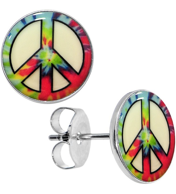 Body Candy Stainless Steel Tie Dyed Peace Sign Glow in the Dark Stud Earrings - C811FW6626F