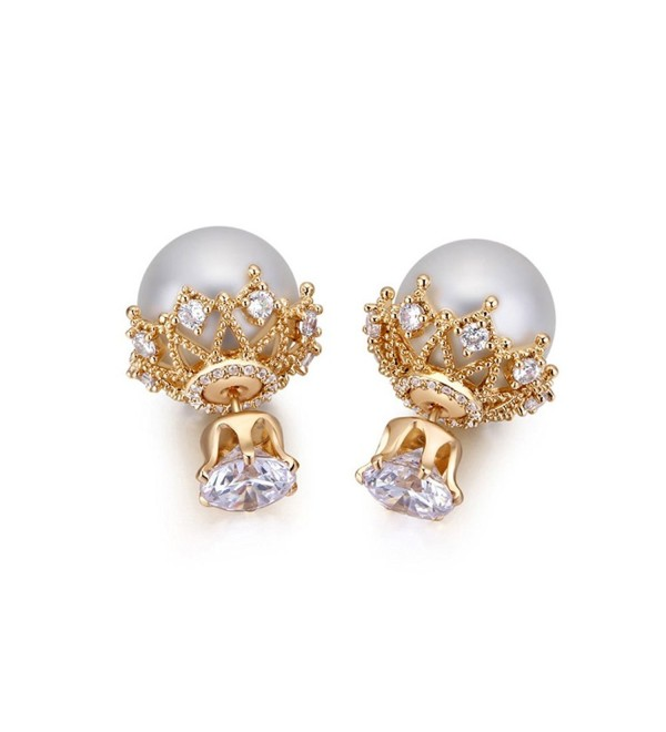 MALANDA imitation pearls earrings excellent Champagne - Champagne gold plated - CJ17YSSS92W