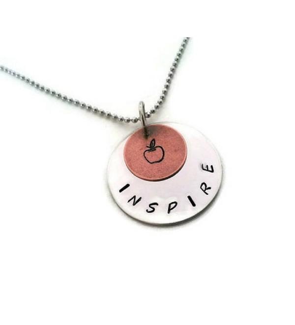 "Teachers Necklace Hand Stamped Teachers Gift- ""Inspire"" - CI11WZ2QZVB"