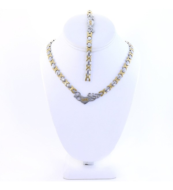 """2 TONE I LOVE YOU HUGS AND KISSES NECKLACE AND BRACELET SET XOXO STAINLESS STEEL 20"""" LENGTH - CB12NH944RH"""