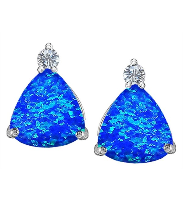 Star K Sterling Silver 7mm Trillion Cut Earring Studs - Blue Created Opal - CB119SR30EB