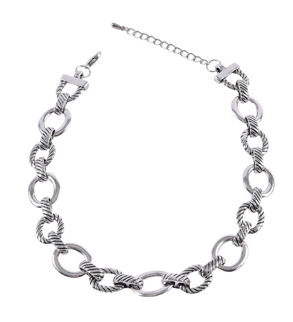 Silver Tone Textured Oval Link Necklace - CY126QMGICV