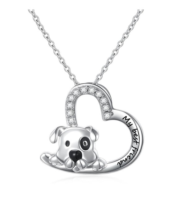 "925 Sterling Silver Engraved "" My Best Friend "" Cute Animal Dog Pendant Necklace for Women- 18"" - C2180N576OH"