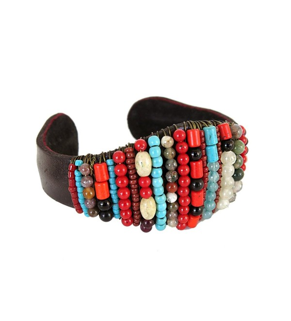Multi Color Stone Beaded Bracelet Leather Jewelry for Women Boho Fashion Accessories - C712OBBKOB8