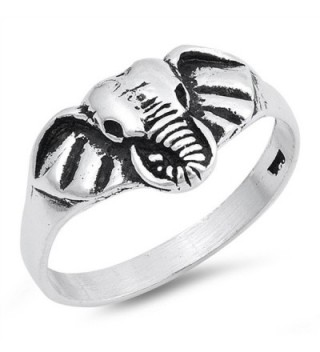 Elephant Head Face Animal Statement Ring New 925 Sterling Silver Band Sizes 5-10 - C512NZHLZGI