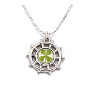 Stainless Steel Real Irish Four Leaf Clover Navy Sailor Wheel Anchor Pendant Necklace- 16-18 inches - CY11O1WVJI7