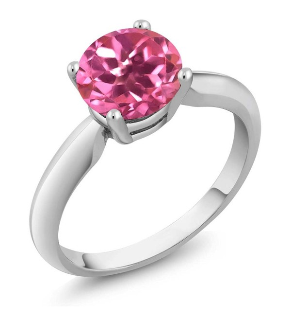 Sterling Silver Pink Mystic Topaz Women's Solitaire Ring (1.55 cttw- Round 7MM- Available in size 5- 6- 7- 8- 9) - CU1191K2H0X