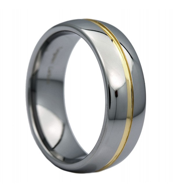 MJ 8mm Gold Plated Center Groove Ring Tungsten Carbide High Polished Band - CA11SEEYNS1