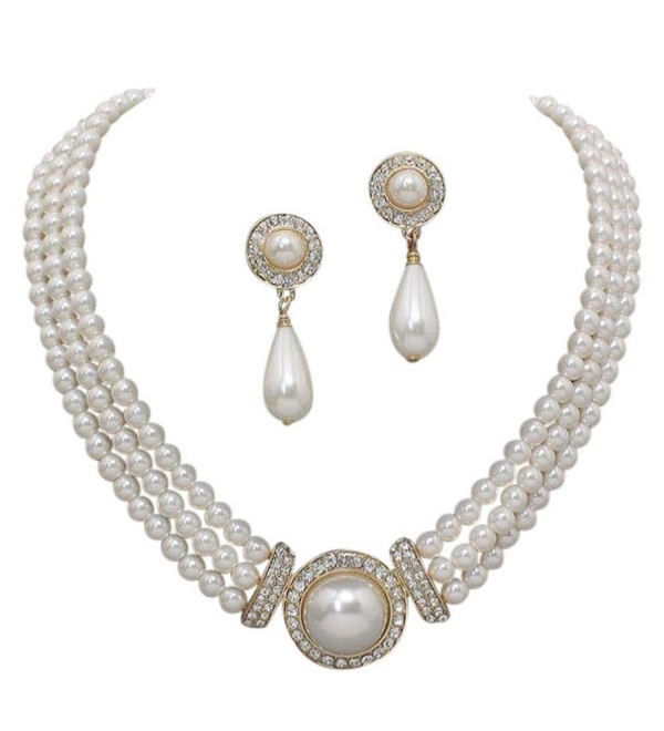 Elegant 3 Strand Cream Ivory Pearl on Gold Tone Drop Bridal Necklace Earring Set X3 - C211G3QQAP5