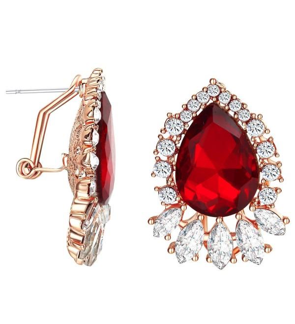 Yoursfs clip earrings for women black rose flower gold plated earring enamel - Red Clip Earrings - CA180KH708E