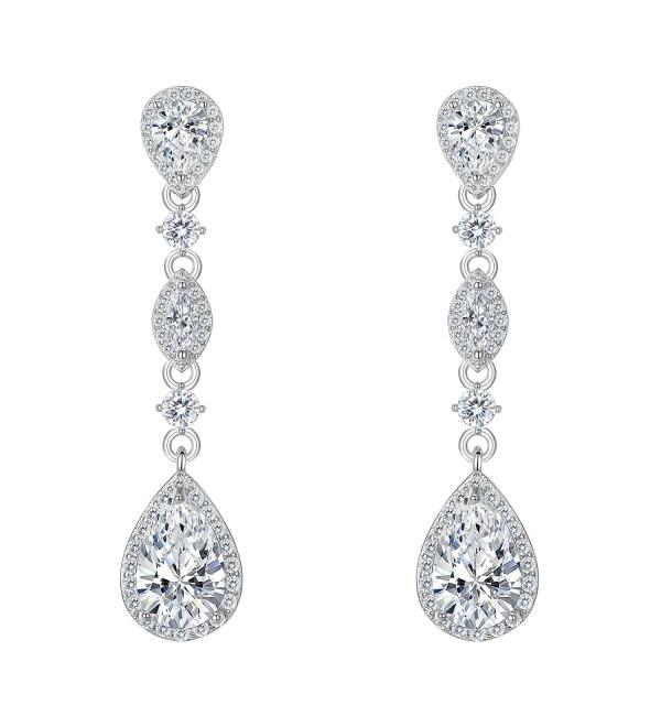 FANZE Zirconia Teardrop Earrings Silver Tone - Earrings: Silver-Tone - CF1855C567Z