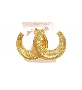 Egyptian Hoop Earrings Gold Tone Medallion Half Moon Earrings - CI125RG1PCP