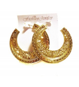 Egyptian Hoop Earrings Gold Medallion