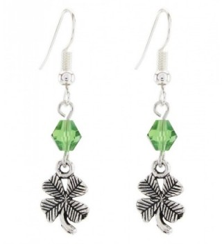 DaisyJewel Green Crystal Antiqued Clover Dangle Earrings - CN12B067SIB