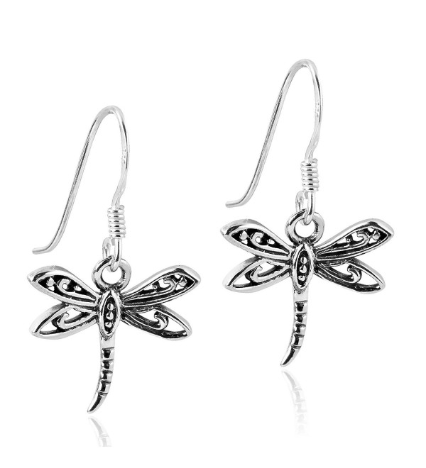 Flying Filigree Dragonfly Sterling Silver Dangle Earrings - CG12OBO9AXO
