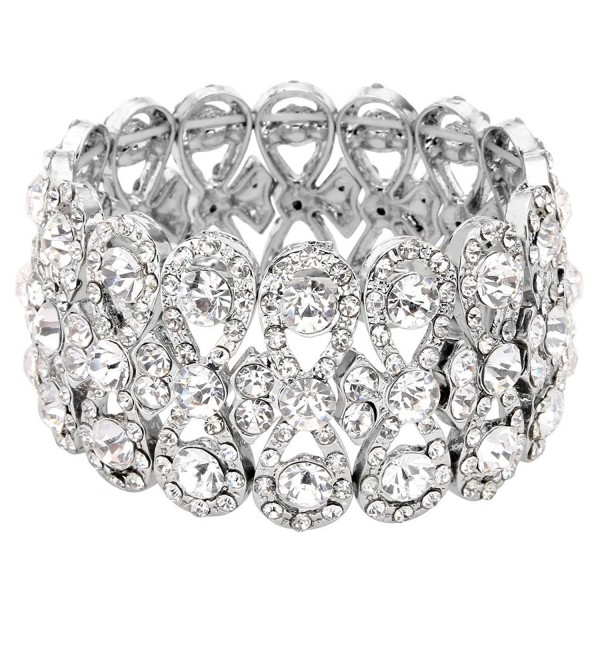 EVER FAITH Austrian Crystal Elegant 8-Shaped Knot Wedding Elastic Stretch Bracelet Clear - Silver-Tone - CP12F9GA8ZH
