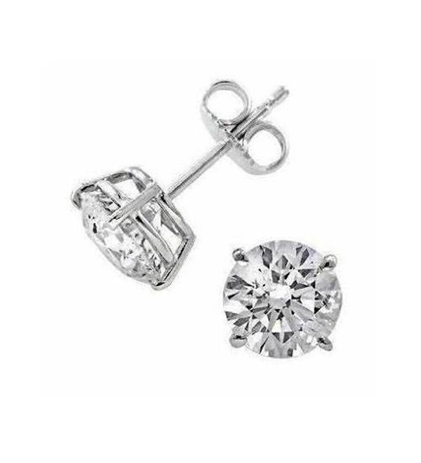 Sterling Silver (925k) Silver Plated Stud Earrings Cubic Zirconia 2.00 ct Size New Lovely - CZ118UZOUQ9