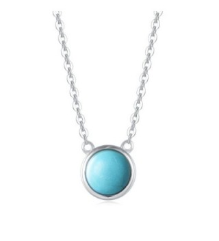 Carleen Sterling Created Turquoise Necklace - Turquoise - C8180M82GDL