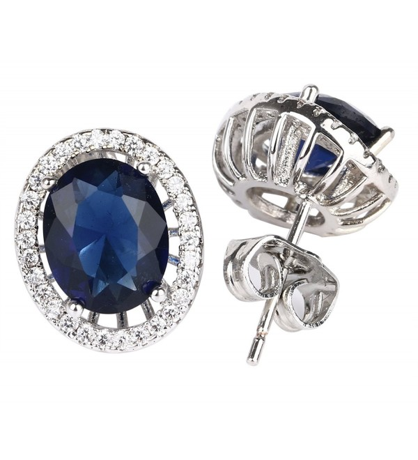 18k White Gold Plated Oval Cubic Zirconia Stud Earrings - Blue - CH12GXXTDKH