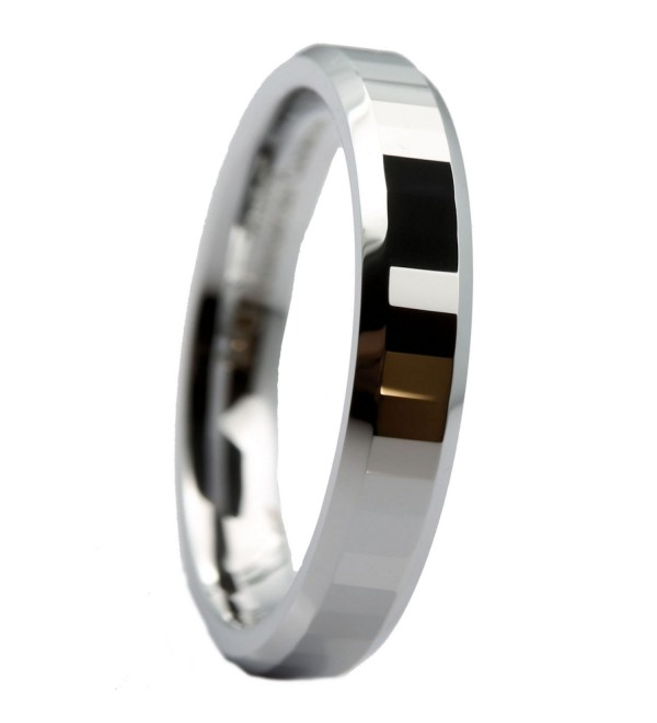 MJ 4mm White Tungsten Carbide Polished Center Tiled Wedding Band Ring - C412ID2TMNJ