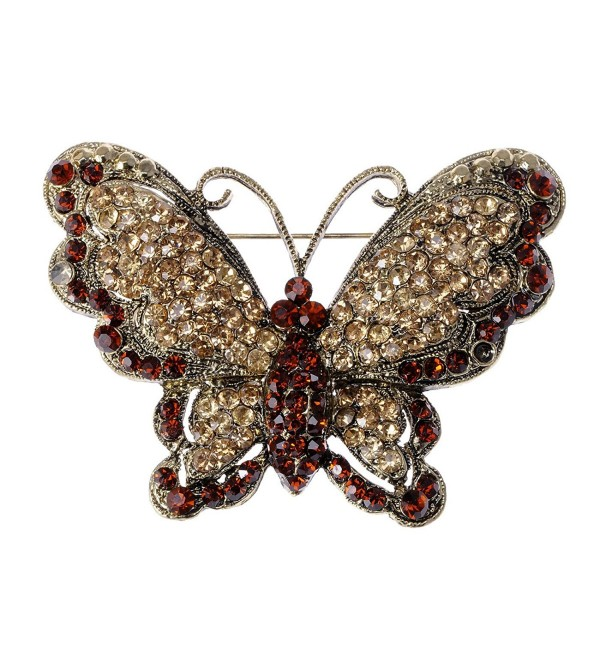 Alilang Victorian Antique Queen Topaz Crystal Rhinestone Butterfly Pin Brooch - C6116E0XXZL