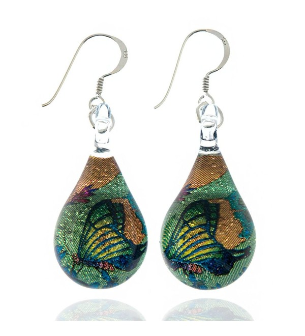 925 Sterling Silver Hand Blown Murano Glass Glitter Butterfly Wings Garden Dangle Earrings - C311TGX1PDP