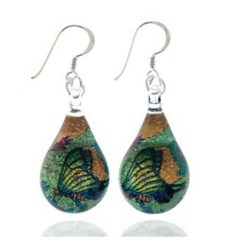 925 Sterling Silver Hand Blown Murano Glass Glitter Butterfly Wings Garden Dangle Earrings - C311TGX1PDP