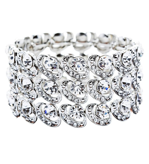 Bridal Wedding Jewelry Crystal Rhinestone Cycle Shape Cut Wide Bracelet Silver - CZ11HKD9L11