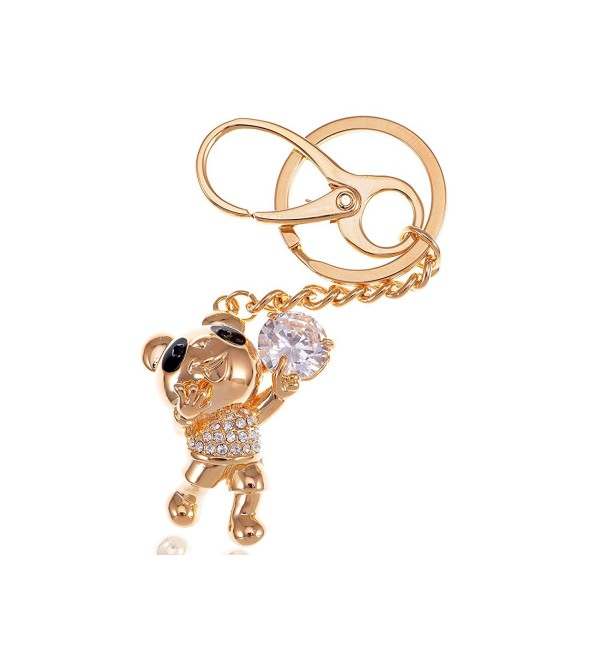 Alilang Golden Tone Happy Singing Panda Teddy Bear Swarovski Crystal Rhinestone Keychain - CG116N0102Z