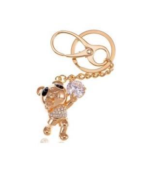 Alilang Golden Tone Happy Singing Panda Teddy Bear Swarovski Crystal Rhinestone Keychain - CG116N0102Z