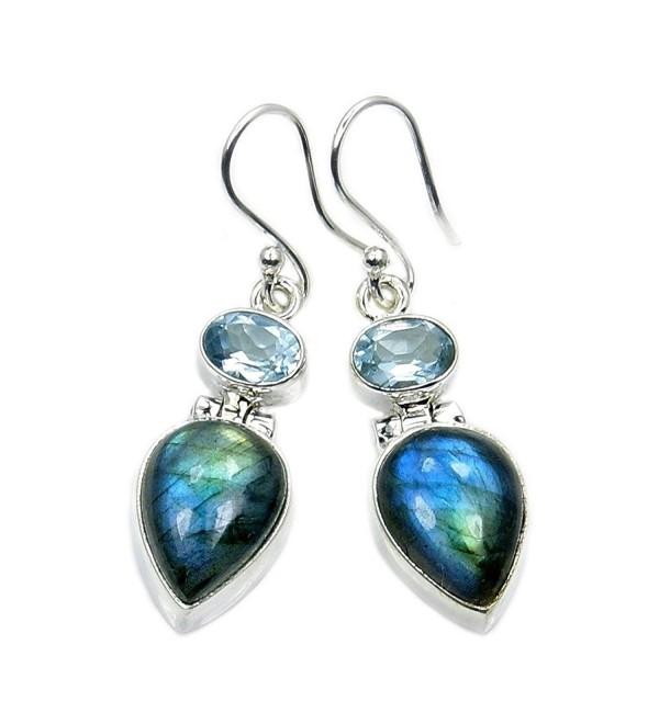 Shimmering Blue Sterling Silver Labradorite- Blue Topaz Dangle Earrings - C012ODLH5XR
