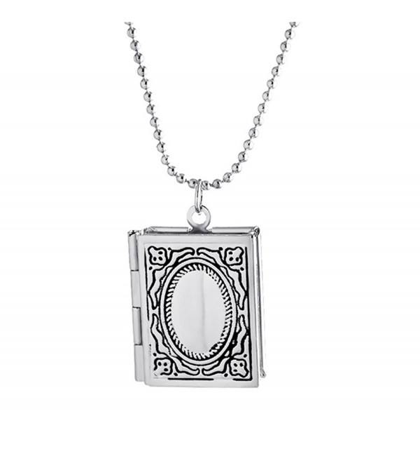 Kebaner Story Bible Book Shape Locket Pendant Necklace For Women - Silver - CS17YL4ZUKD