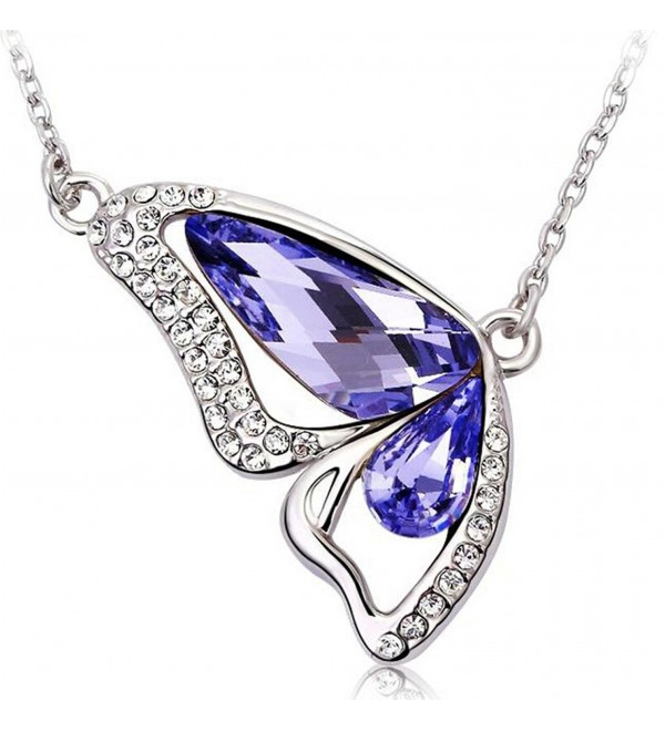 Infinite U Austrian Crystal Silver Plated Butterfly Wing Teardrop Pendant Necklace for Women Girls - purple - C611VY5VJ2F