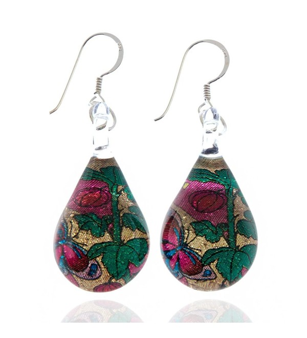 925 Sterling Silver Hand Blown Murano Glass Glitter Butterfly Rose Flower Dangle Earrings - CT11TGX1Y13