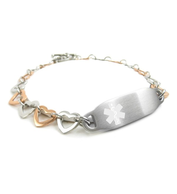 MyIDDr - Pre-Engraved & Customizable Organ Donor Toggle Medical Alert Bracelet- Steel Hearts - C611HUG2Z7Z