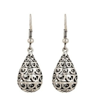 D EXCEED Women's Ethnic Filigree Teardrop Puffed Design Dangling Hook Earrings Antique Silver - CG1822O2R2O