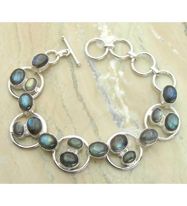 Genuine Labradorite & .925 Sterling Silver Overlay Handmade Bracelet Jewelry - CG127EQ36ZZ
