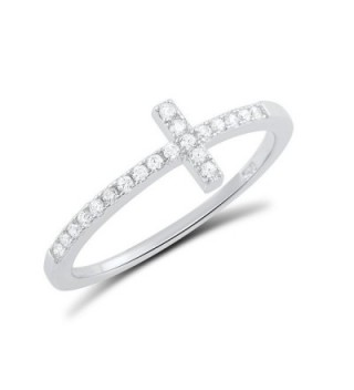 Sterling Silver Cz Thin Stackable Sideways Cross Ring (Size 4 - 11) - CA12CVNZQ2H