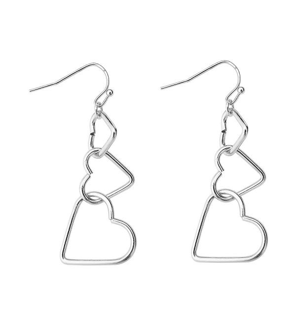 Fashion Interlocking Three Hearts Pendant Necklace For Women Girls Alloy Silver - Silver Earrings - C91802YXI2G