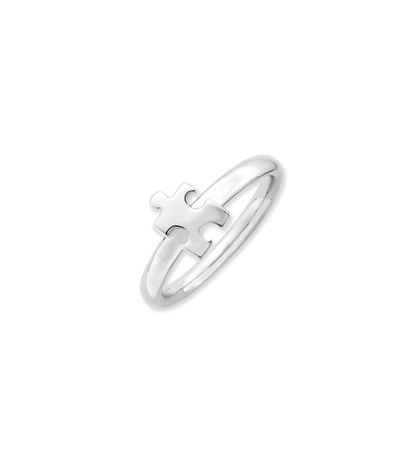 Silver Stackable Puzzle Piece Awareness Ring - CE1189I6U47