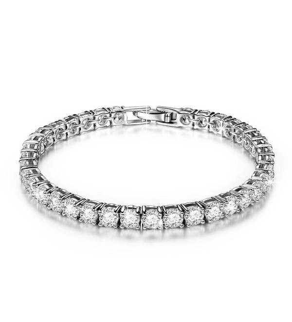 "QIANSE ""Frozen"" 7.8 Inch Brass Tennis Bracelet with Cubic Zirconia- Must Have Joker Pattern Jewelry - CU12534Q7DN"
