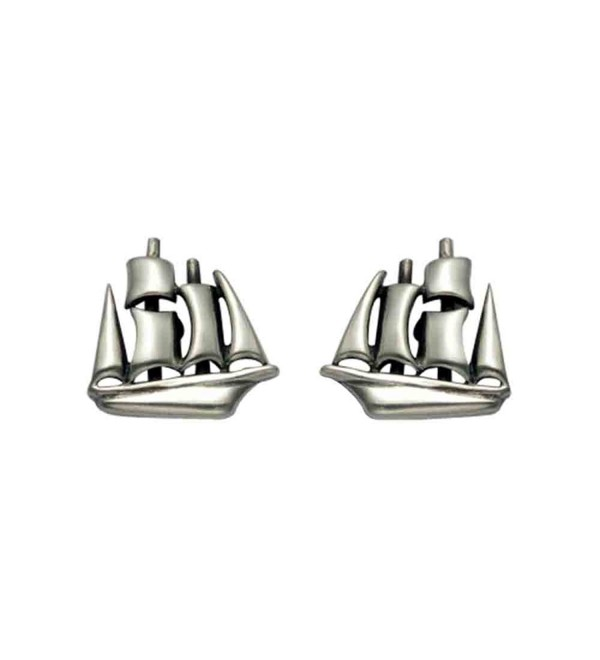 Small Sterling Silver Clipper Ship Stud Earrings - CL110WYY6EH