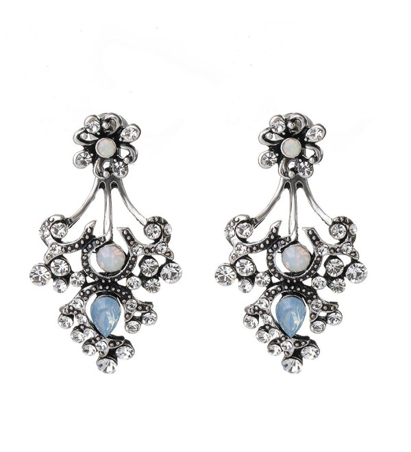She Lian Rhinestone Earrings Mismatch - Antique Silver Tone - CP12H63A0LX