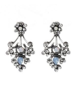 She Lian Rhinestone Earrings Mismatch - Antique Silver Tone - CP12H63A0LX