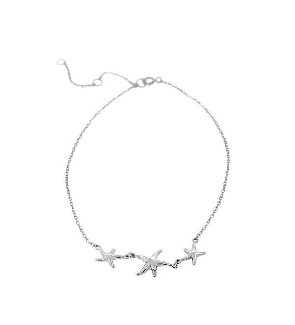 925 Sterling Silver Three Triple Starfish Anklet Bracelet - White - CA123YEVZ81