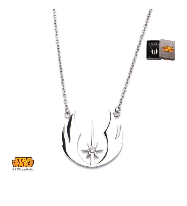 Disney Star Wars Officially Licensed Women's Stainless Steel Jedi Order CZ Necklace - CR12748I3ZL