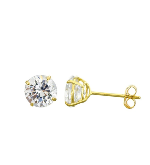 10K Yellow Gold Round Cubic Zirconia (CZ) Double Basket Push Back Stud Earrings - 2 mm to 10 mm - CI11ORDYQ7B