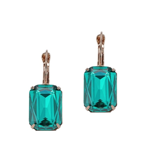 eManco Crystal Earrings for Women Gold Plated Copper Drop Lever-back Statement Dangle Earring (Peacock Green) - CX12JKUM3ED