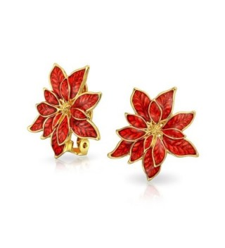 Bling Jewelry Gold Plated Alloy Poinsettia Flowers Red Enamel Clip On Earrings - C411Q2OZCRL