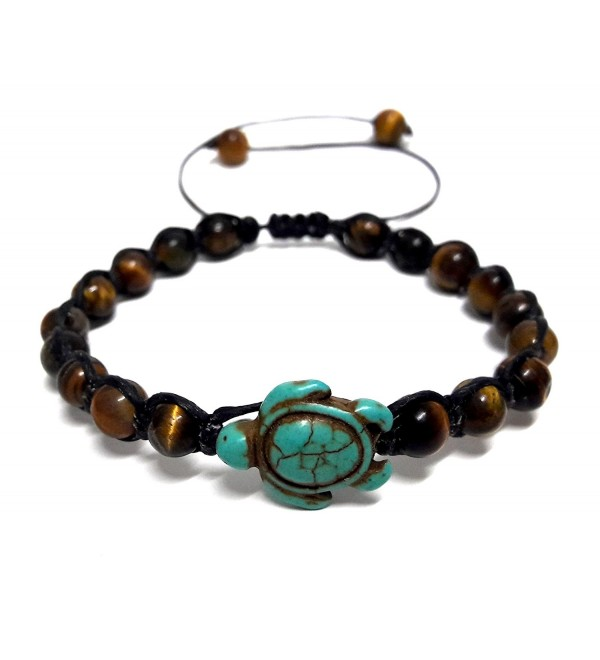 Tiger Eye Stone Beads Sea Turtle Turquoise Bracelet Turtle Hemp Bracelet Hawaiian Sea Turtle Bracelet - CT12HJHKM3D